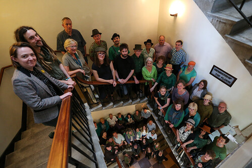 Cecil Sharp House Choir on the stairs of Cecil Sharp House, May 2015, photo © EFDSS, photographer Roswitha Chesher