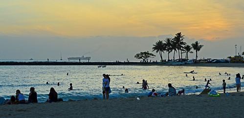 ocean sunset sea sky clouds hawaii nikon ship waikiki oahu smoke horizon pacificocean d3200 ftderussybeach alamoanaarea nikiond3200