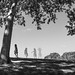 Girl dancing in a park along river Tagus, Lisbon by Pietro Faccioli