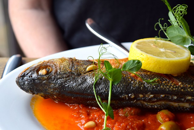 Sea Bass in Tomato Sauce at The Boatyard, Isle of Man