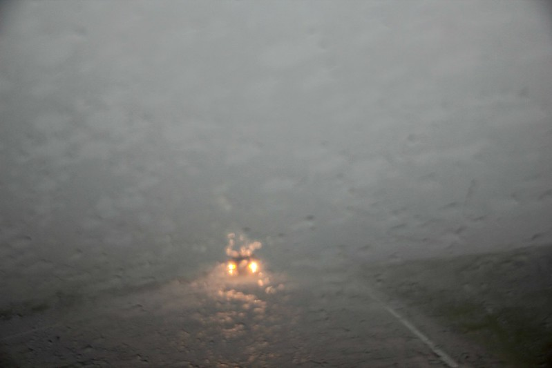 Hard rain in a car