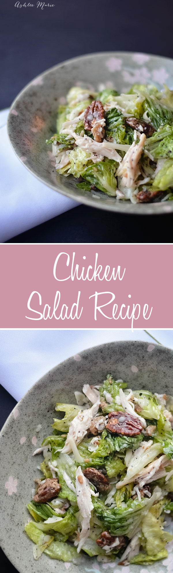 this rotisserie chicken salad is full of goodness, candied pecans, bacon, cheese and more.  Its easy to throw together and is great to serve a group