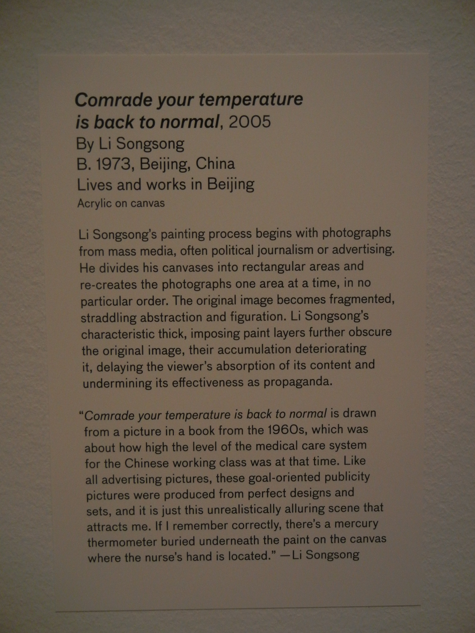 DSCN4628 _ 28 Chinese - Comrade your temperature is back to normal, 2005, Songsong LI, Asian Art Museum