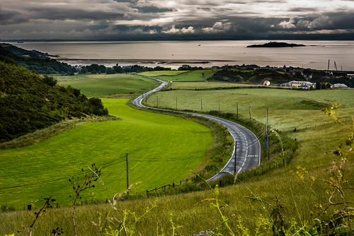 road sea summer sky cloud clouds contrast river landscape scotland unitedkingdom telephone forth fields crops poles telegraph burntisland bends