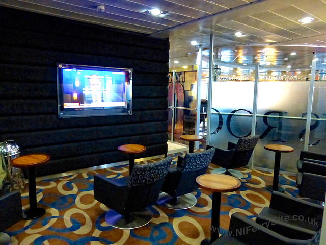 Stena Mersey - The news room. The barista cafe is just beyond the frosted glass in this picture. © Steven Tarbox.