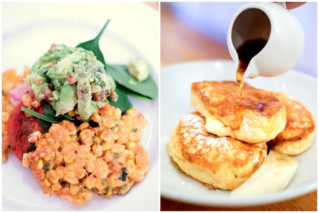 Bills Restaurant @ Darlinghurst: Sweetcorn fritters & fluffy hotcakes with honeycomb butter