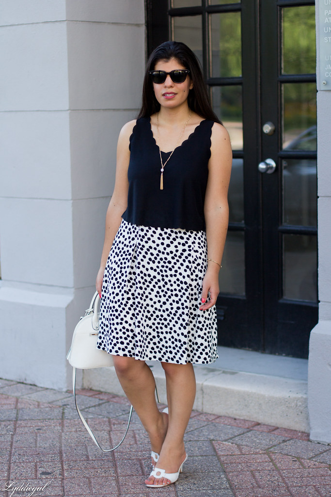 spotted skirt, scalloped hem crop top, white sandals-1.jpg