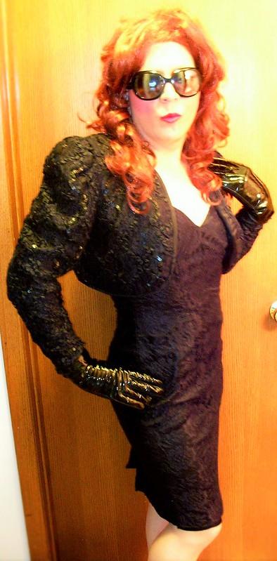 Dinner dress/jacket w/ gloves & sunglasses
