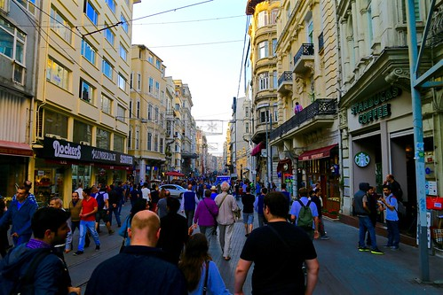 Walking along the main strip of Istanbul