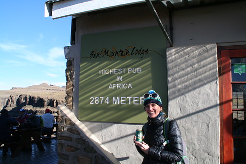 Drinking Maluti Beer at the highest pub in Africa, Lesotho