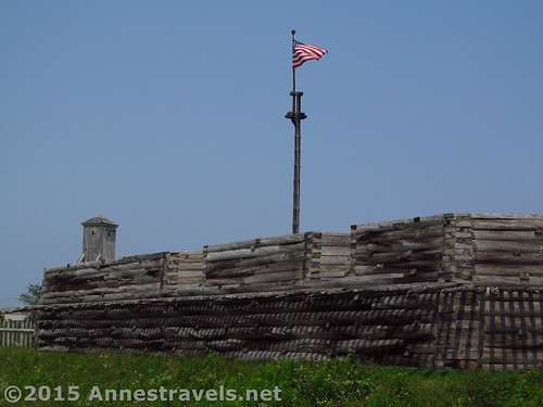 An American flag flies over Fort Stanwix National Monument, New York