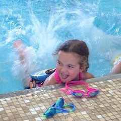 Swim lesson. Indoor pool. Always with her tongue out. #bravegirl #biggirl #swim #pool