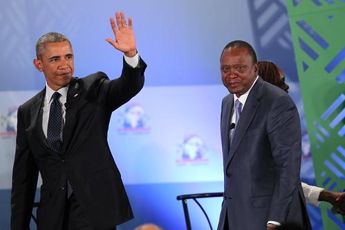 U.S. President Obama and Kenyan President Kenyatta Wave to GES Delegates