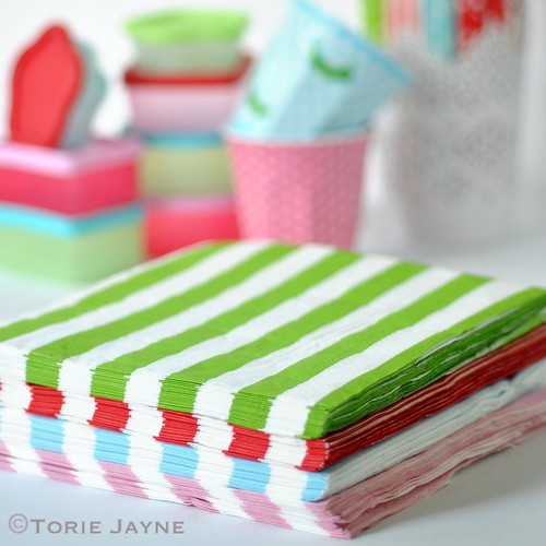 Pinks & Green stripe napkins