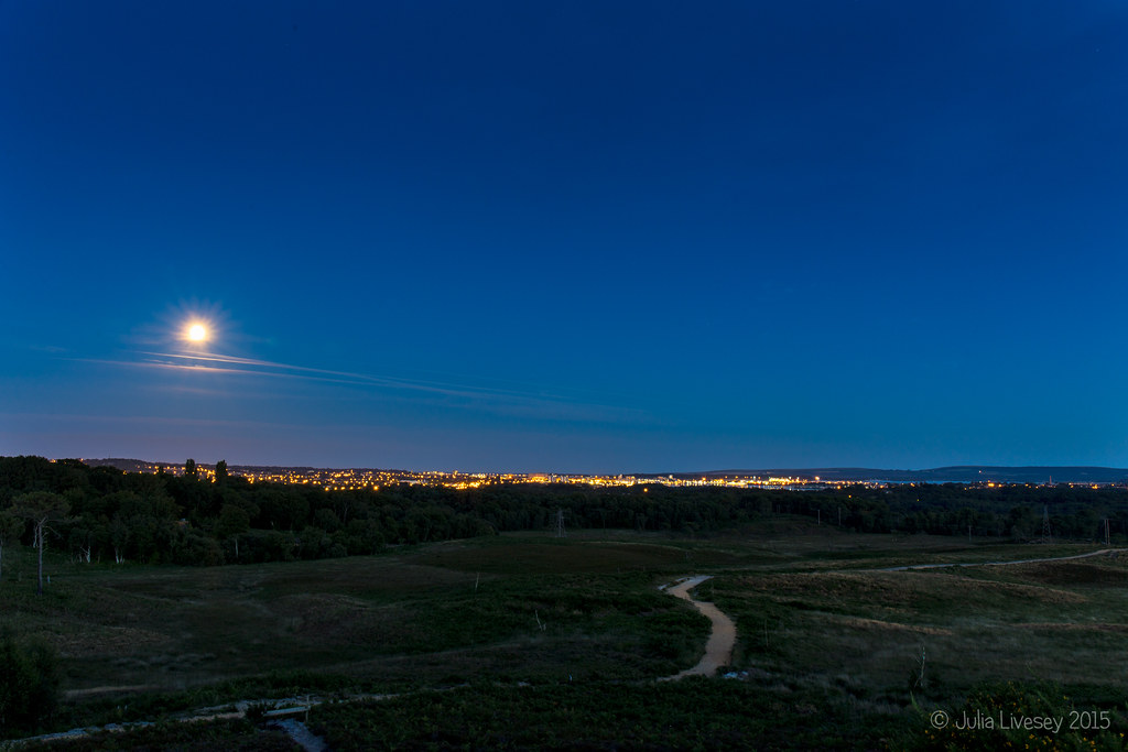 Blue Moon over Poole and Upton Heath