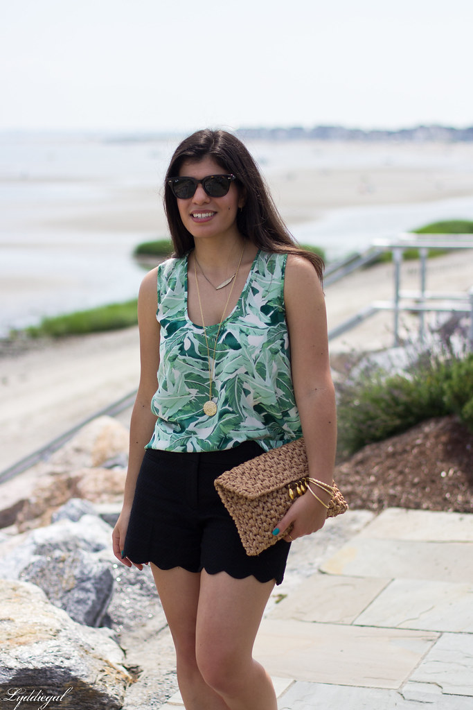 Leaf print tank, scalloped shorts, straw clutch.jpg