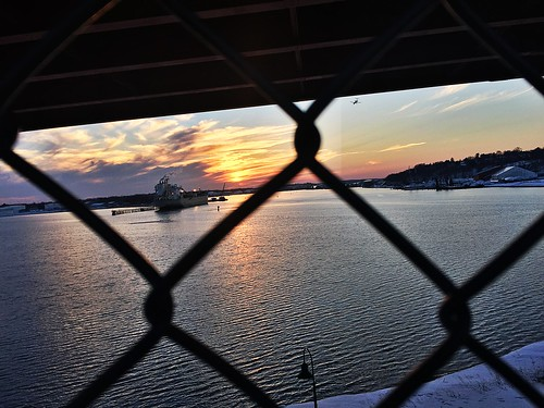 thomasknightpark southportland maine cascobaybridge winter snow sunset port portland