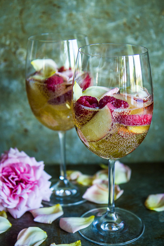 Nectarine Raspberry Rose Prosecco Punch
