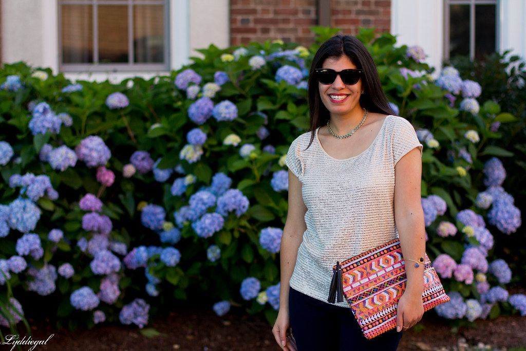sequined top, navy pants, aztec clutch.jpg