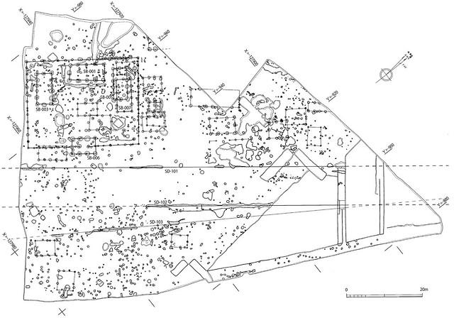 初期野磨駅家跡(落地遺跡八反坪地区)遺構平面図