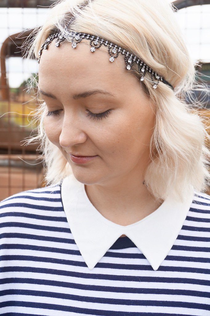 tiki,tikki,headband,curly hair,katelouiseblog,collar,stripes dress,
