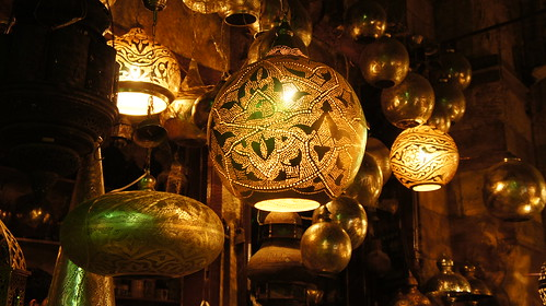 That chandelier is very popular in Khan El-Khalili, it is made of Copper.