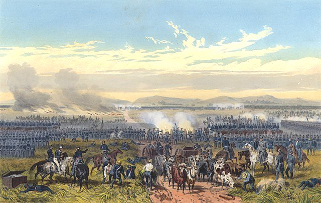 Battle of Palo Alto during the Mexican-American War, painting by Carl Nebel