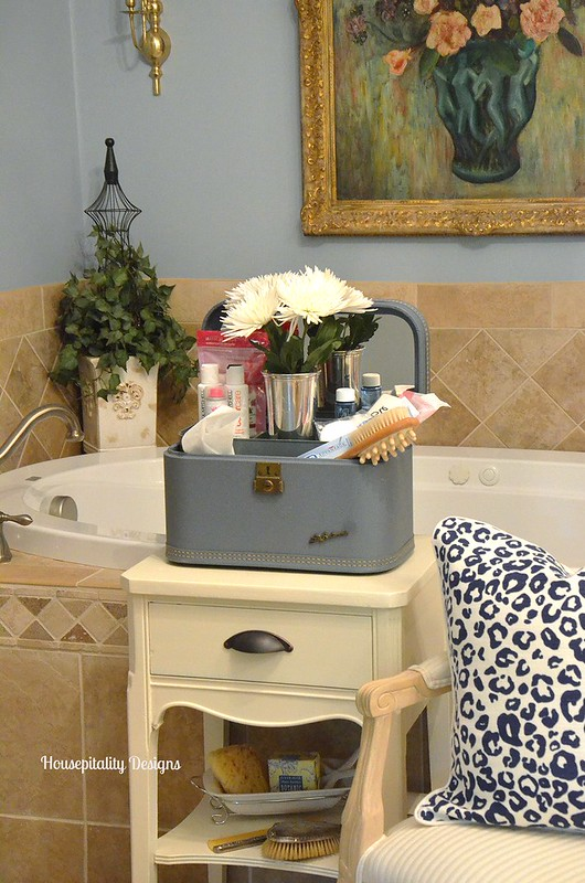 Guest Bath/Vintage Train Case-Housepitality Designs