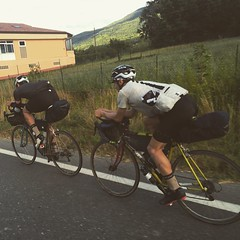 Really honored to have shared some road with this two guys living the adventure of their life riding #transcontinental race #tcr2015 #legor #pedaled #dressliveride #pigozzi