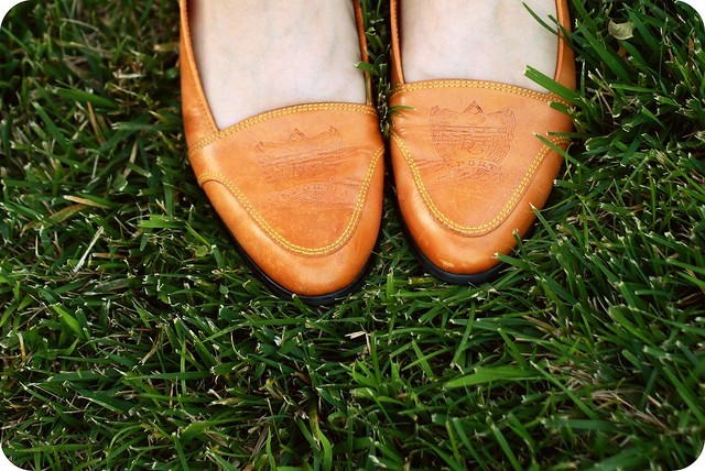 Thrifted leather loafers
