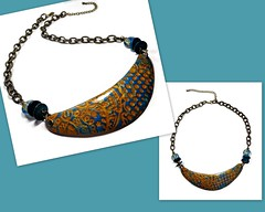 polymer clay Mica Shift Bib Necklace