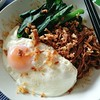 A #latergram meal of konlo mee with choi sum and a fried egg