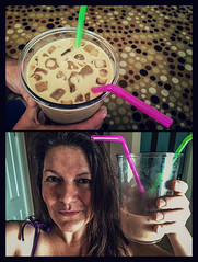 Gigantic iced coffee, head for scale