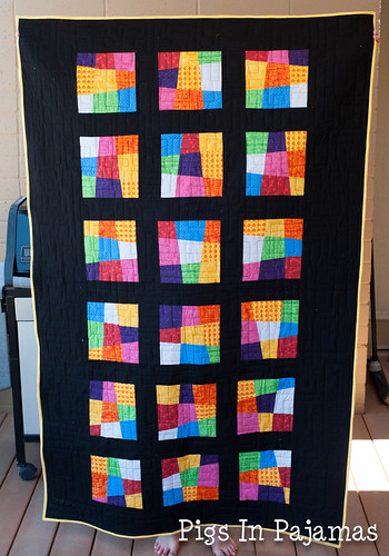 Crazy 9 patch quilt before washing
