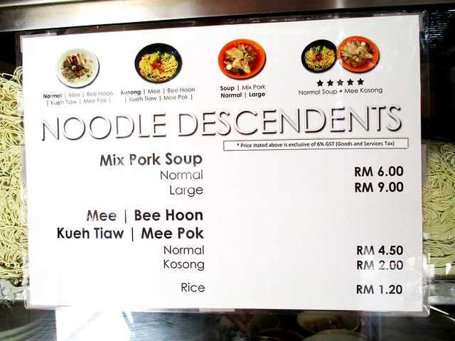 Noodle Descendents menu