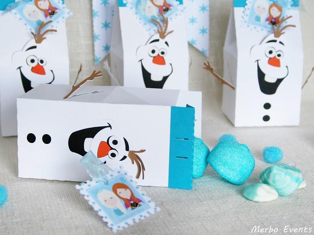 Cajas Olaf cumpleaños frozen Mesa dulces Merbo Events