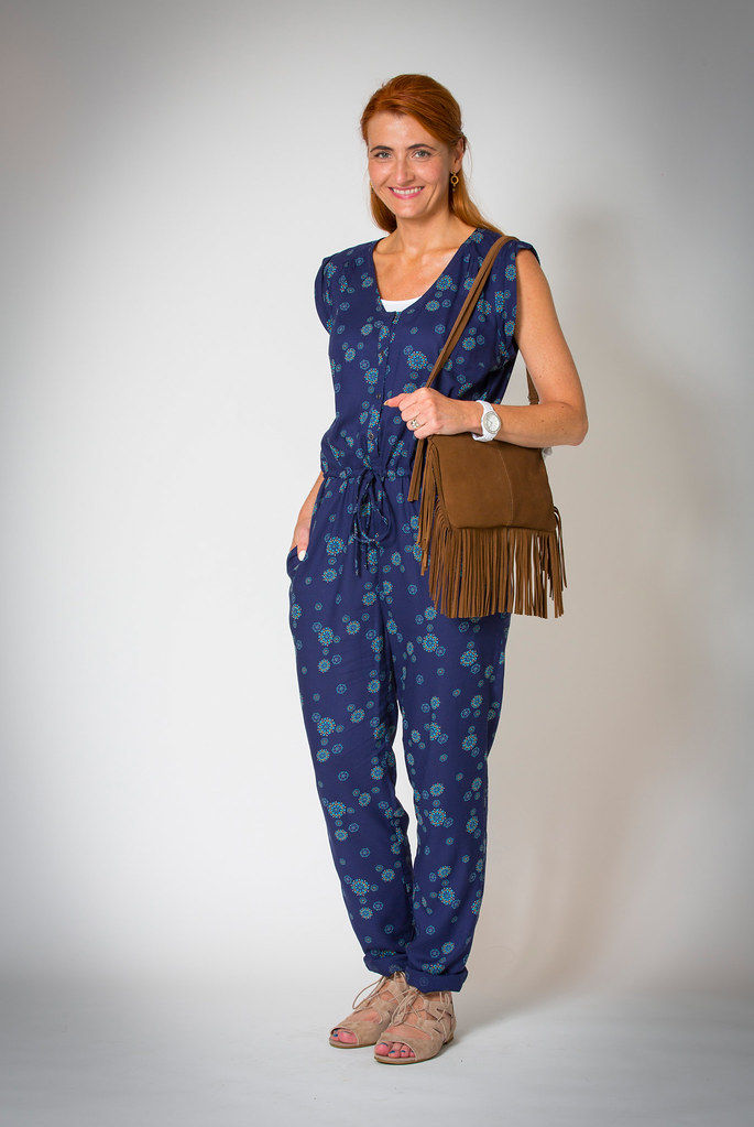 M&S blue jumpsuit, fringed bag, suede sandals - Summer 2015 | Not Dressed As Lamb