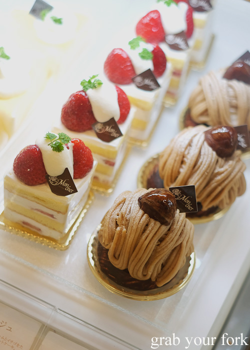 Strawberry short cake and Mont Blanc from Mon Cher at Hanyu department store in Hakata, Fukuoka, Japan