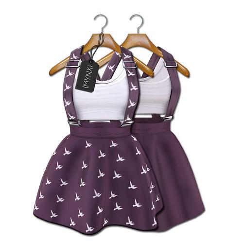 {MYNX} Suspender Dress - Plum Birds