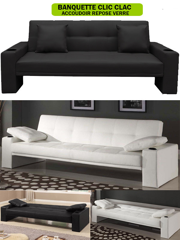 banquette lit canape clic clac pilot facon cuir neuf ebay. Black Bedroom Furniture Sets. Home Design Ideas