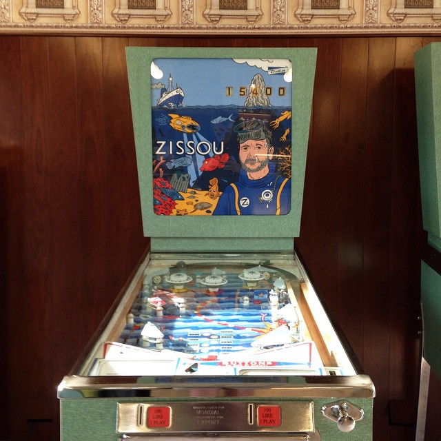 Zissou pinball machine at Bar Luce, by Wes Anderson. #thelifeaquatic #milan