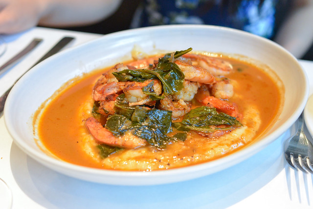 Jumbo Shrimp with Tasso-Stewed Collard Greens and Grits