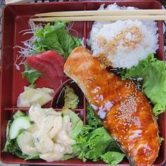 salmon teriyaki & ahi sashimi bento