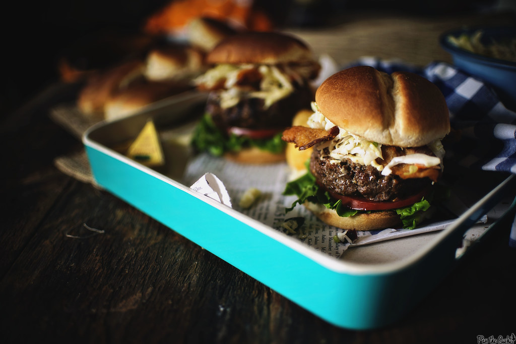 Cheddar Apple Slaw Burgers #BurgerMonth \ GirlCarnivore.com