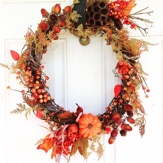 Autumn wreath. Might submit to fair. Unsure if faux floral decorations allowed.