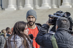 Enmanuel Candelario Is Interviewed at a Rally Marking the 15th Year of Guant�namo's Opening