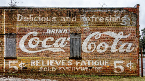Photo by Larry Bell, Coca-Cola 5 Cent Wall, Demopolis, January 1, 2017