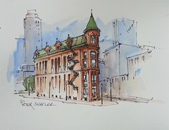 """""""Flatiron Building"""" Line and wash watercolor video with 3 colors."""