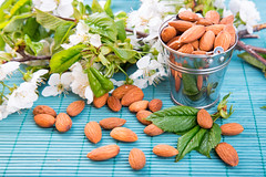 Almonds in a backet