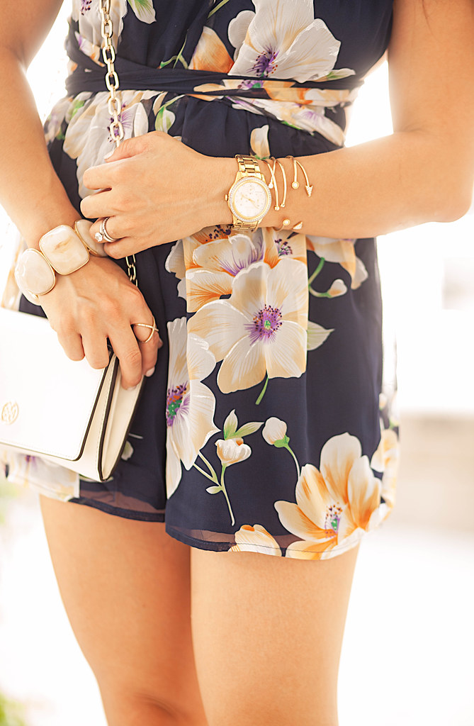 cute & little blog | petite fashion | navy floral romper, arm bracelet stack small wrists